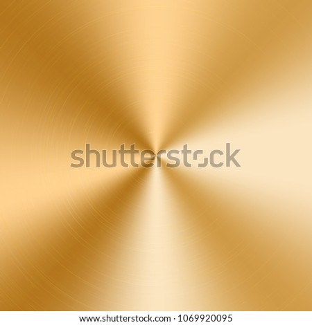 Conical gradient with a texture of gold metal. Vector illustration with effect of polished plate