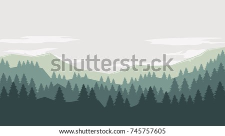 Stock Photo Coniferous forest silhouette template landscape with mountains,  sky and woods . Panorama background