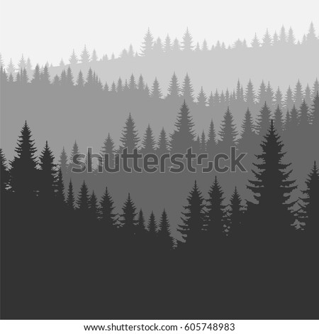 Coniferous forest silhouette template. Vector illustration of pine trees