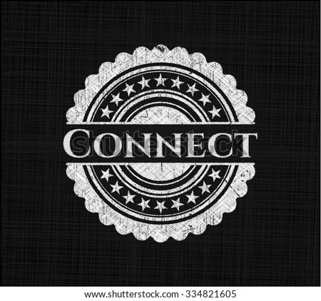 Connect chalkboard emblem on black board