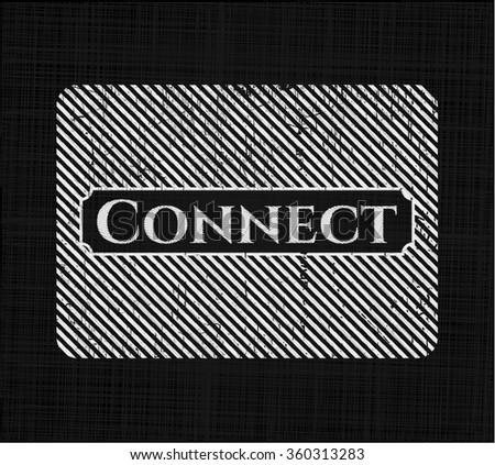 Connect chalkboard emblem written on a blackboard