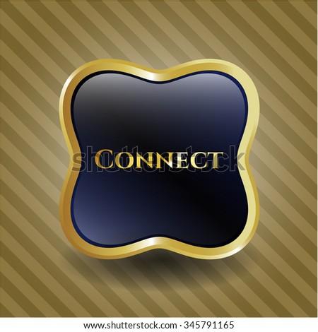 Connect golden emblem or badge