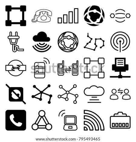 Connect icons. set of 25 editable filled and outline connect icons such as no plug, connection, network connection, call, atom interaction, wi-fi, connected phone, cable, plug