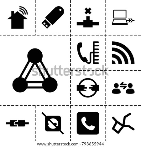 Connect icons. set of 13 editable filled connect icons such as connection, no plug, wi-fi, flash drive, network connection, plug in power socket, cable, call