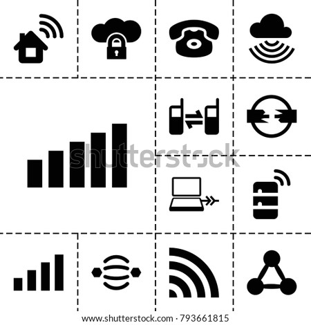 Connect icons. set of 13 editable filled connect icons such as desk phone, home connection, atom interaction, wi-fi, connected phone, cloud protection, network connection