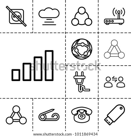 Connect icons. set of 13 editable outline connect icons such as pin, no plug, cloud connection, desk phone, flash drive, network connection, plug, router, connection