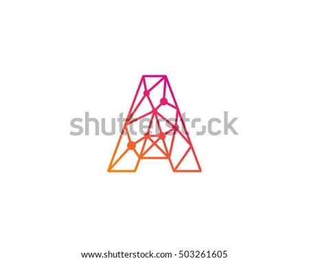 Connect Line Letter A Logo Design Template Element