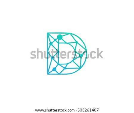 Connect Line Letter D Logo Design Template Element