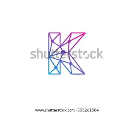 connect line letter k logo