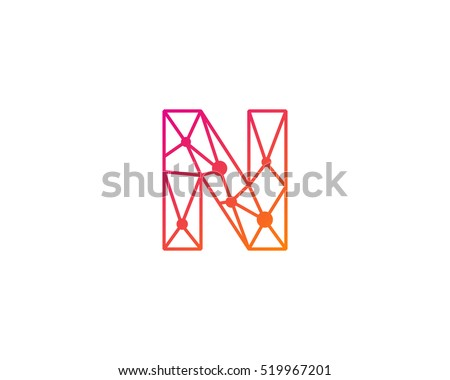 Connect Line Letter N Logo Design Template Element