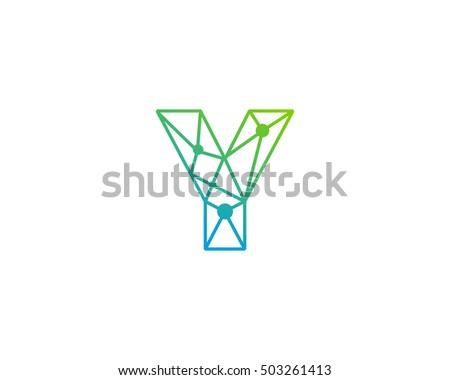 connect line letter y logo design template element