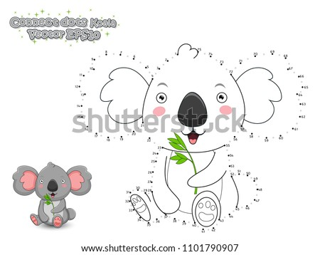 Connect The Dots and Draw Cute Cartoon Koala. Educational Game for Kids. Vector Illustration.