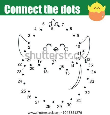 Connect the dots children educational drawing game. Dot to dot by numbers for kids. Printable Easter worksheet activity for toddlers with cute chicken