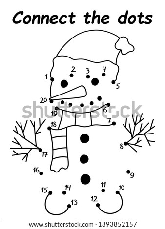 Connect the dots snowman children game vector. Funny educational game to learn numbers from 1 to 20. Winter season cartoon character with scarf and hat vertical printable worksheet. One of a series