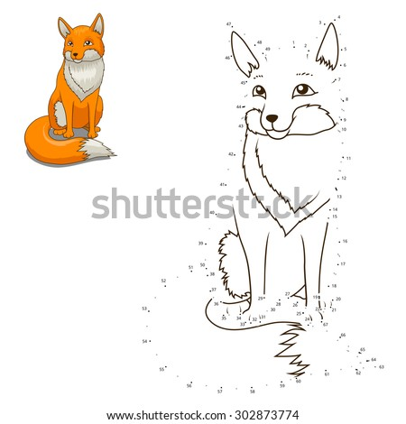 Connect the dots to draw the animal educational game for children fox vector illustration
