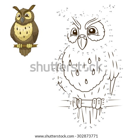 Connect the dots to draw the animal educational game for children owl vector illustration