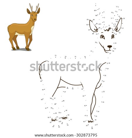 Connect the dots to draw the animal educational game for children roe deer vector illustration