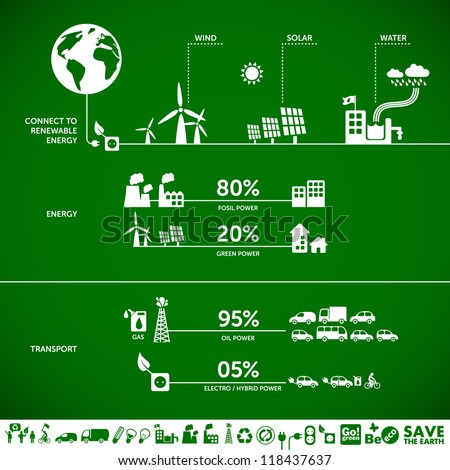 Connect to renewable energy - ecology background / eco energy concept with set of energy icons