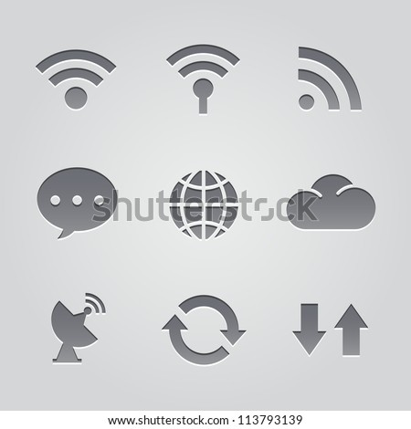 connect to the Internet icons : deboss style