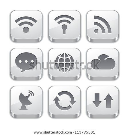 connect to the Internet with silver button icons