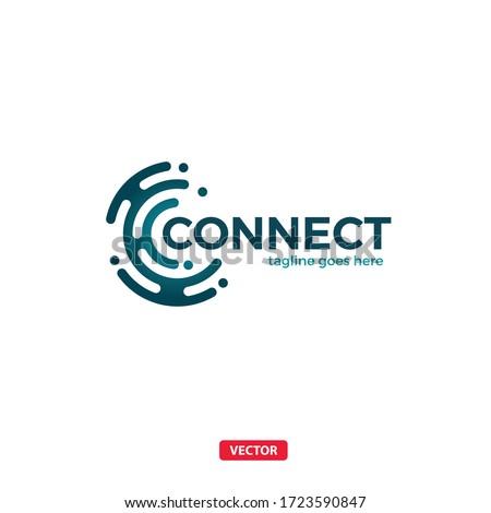 Connect Vector C Letter Logo. Letter C Web Connection Logo