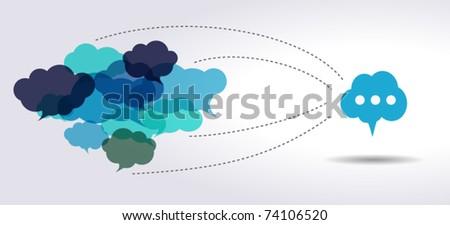 connected blue cloud speech bubbles