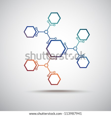 connected by a colored cell. Vector Graphics