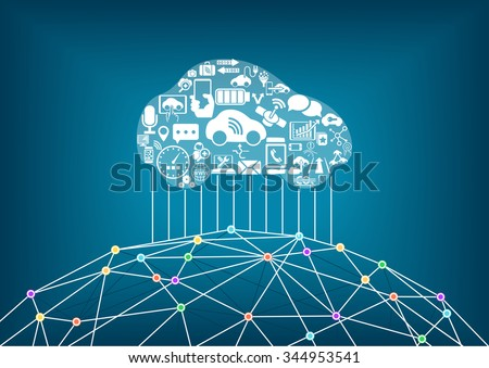 Connected car and internet of things concept. Driverless cars connected to the world wide web.