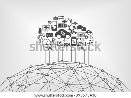 Connected car and internet of things infographic concept. Driverless cars with world wide web.