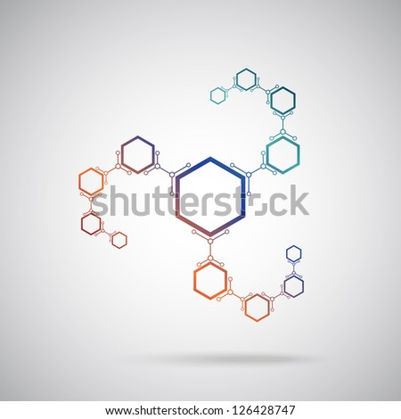 connected colored cells. Vector Graphics.