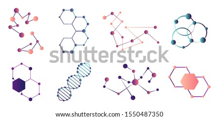 Connected molecules. Molecule connection model, chemistry particle and color molecular structure.Molecule of the formula. Set of scientific icons. Atom model and dna chain science