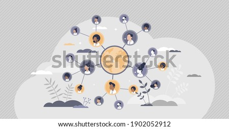Connected people as social community networking worldwide tiny person concept. Linking business contacts online in social media vector illustration. Cooperation and teamwork using internet connection.