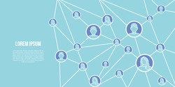 Connected people design. Social network concept, vector template.