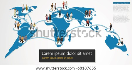 connected people over World map - stock vector