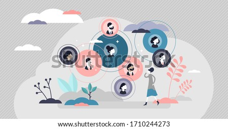 Connected relationships vector illustration. Mutual contacts network in flat tiny persons concept. Social acquaintance team as business partner group. Friends and abstract family tree visualization.
