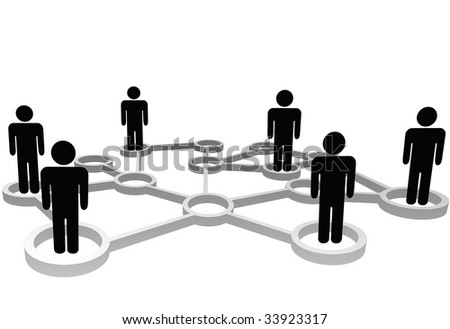 Connected Symbol People associate in 3D Social or Business Community Network Nodes.