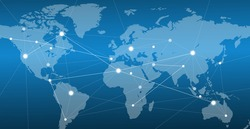 connected world map background blue gradient vector