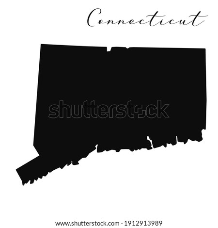 Connecticut black silhouette vector map. Editable high quality illustration of the American state of Connecticut simple map Сток-фото ©