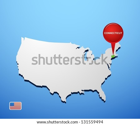 Connecticut on USA map