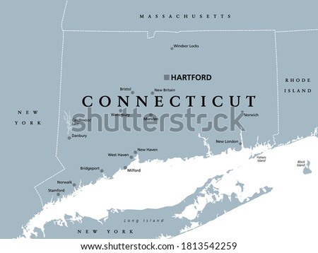 Connecticut, political map with capital Hartford. State of Connecticut, CT, southernmost state in New England region of northeastern United States of America. Gray illustration, over white. Vector. Сток-фото ©