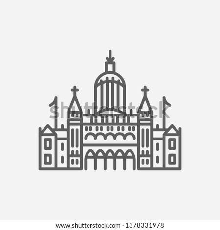 Connecticut state capitol icon line symbol. Isolated vector illustration of  icon sign concept for your web site mobile app logo UI design.