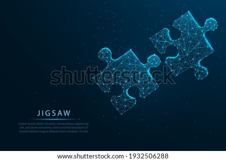 connecting a jigsaw puzzle with glowing blue. Low polygon, particle, and triangle style design.Wireframe light connection structure, Business solutions, success, and strategy concept. Foto stock ©