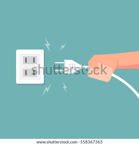 Connecting electric plug with electricity spark. Vector illustration.