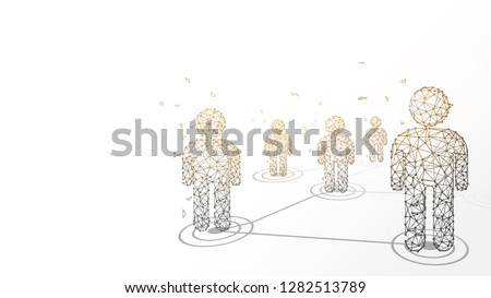 Connecting people form lines, triangles and particle style design. Illustration vector