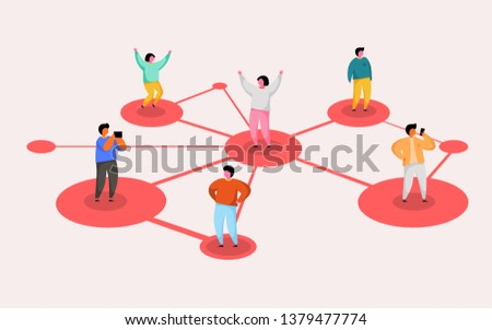 Connecting people. Social network concept. Refer a friend program. Vector illustration
