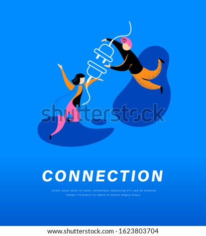 Connection abstract metaphor. People connecting plug and socket together. Secure internet connection, partnership, togetherness, communication concept. Vector flat illustration.