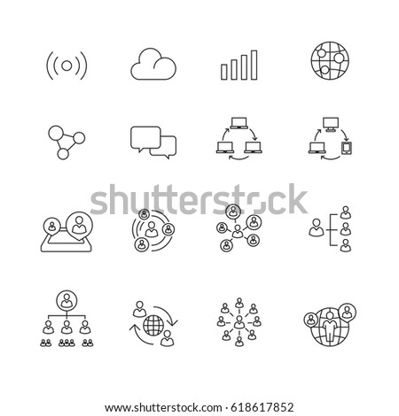 Connection and communication icons set ,Vector