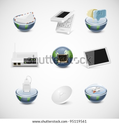 connection and net vector icon set