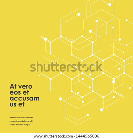 Connection and social network. Hexagons genetic, science, chemical carcass. Concept with lines and dots. Vector illustration