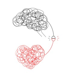 Connection between logic and emotion concept. Hand drawn doodle style of  Brain and heart. Vector illustration design isolated on white background.